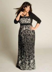 Закрытое длинное платье с мелким рисунком для полных женщин