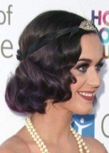 Укладка темных волос к платью в стиле Гэтсби