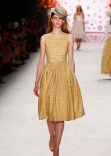 Желтое винтажное платье
