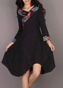 Хлопковое черное платье в восточном стиле