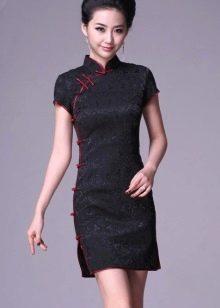 Черное вечернее платье ципао мини длина