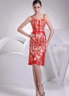 Розово-красное платье