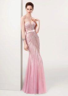 Розовое платье в пол вечернее