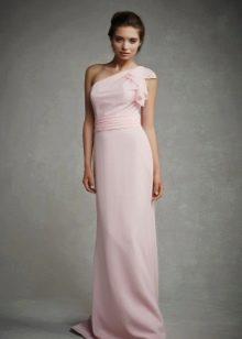 Розовое платье в пол на одно плечо