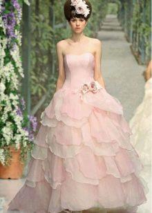 Пышное свадебное розовое платье