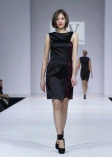 черное шелковое платье делового стиля