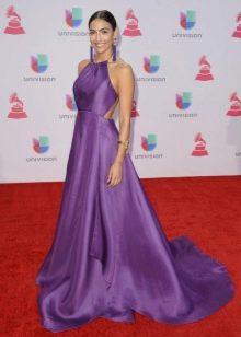 Фиолетовое шелковое платье а-силуэта
