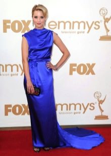 Синее шелковое платье
