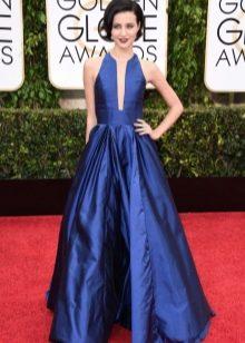 Синее шелковое платье пышное