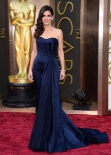 Синее шелковое платье русалка