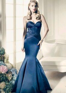 Синее вечернее платье из шелка русалка