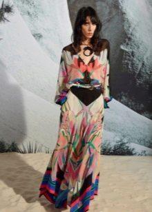Летнее цветное шелковое платье в пол