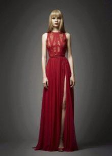 Шелковое платье с кружевным верхом