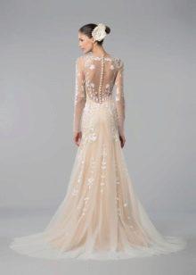 Свадебное платье с цветами, отличающимися на тон