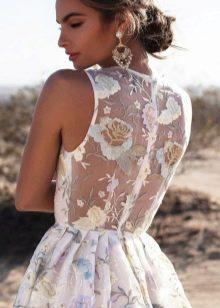 Платье с цветочной вышивкой - спина