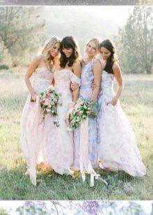 Платья подружек невесты с цветочным принтом - 3 варианта