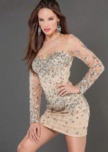 Платье телесного цвета мини