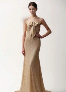 Платье телесного цвета в  пол от Ним Хан