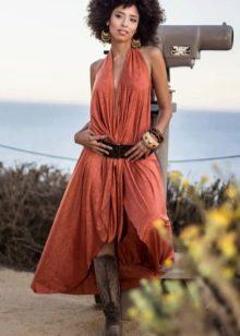 Терракотовое платье в богемном стиле
