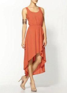 Терракотовое асимметричное платье длины миди