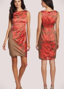 Терракотовое платье в сочетание с коричневыми оттенками