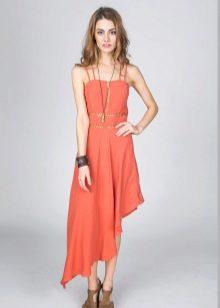 Асимметричное терракотовое платье средней длины