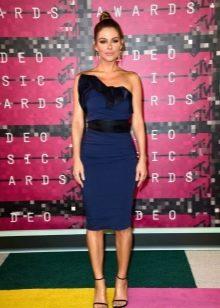 Синее с черным платье короткое