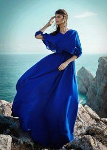 Синее платье а-силуэта