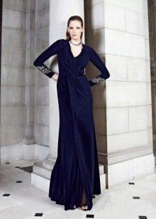 Синее закрытое платье
