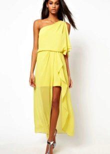 Желтое платье из шифона короткое