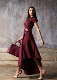 Платье ассимметричное цвета марсала