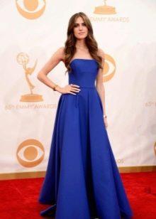 Синее платье пышное