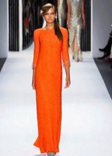 Оранжевое платье в пол