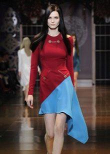 вишневое платье с синей вставкой