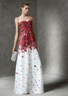 Белое платье с бордовым принтом
