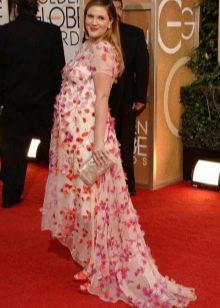 Длинное шифоновое платье в пол с коротким рукавом  для беременных