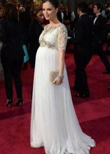 Длинное белое платье в пол с рукавом по локоть для беременных