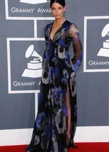Длинное с завышенной талией платье с цветочным принтом и разрезами по бокам для беременных