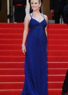 Длинное синее платье в пол на брителях с завышенной талией для беременных