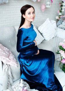 Синее платье в пол для беременных