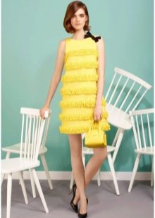 Платье трапеция с бахромой желтое