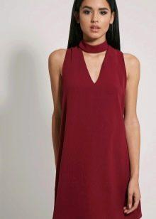Платье шифт бордовое