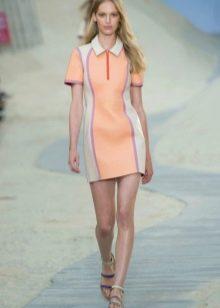 Платье поло персиковое