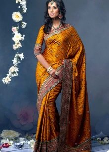 Платье сари желтое