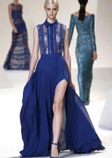Вечернее синее платье-рубашка с гипюром
