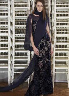 Кружевное платье с шифоновым рукавом