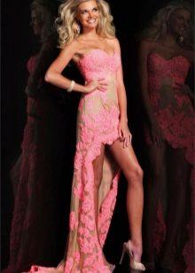 Коктейльное розовое платье короткое спереди длинное сзади