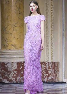 Гипюровое платье в пол с чемчугом сиреневое