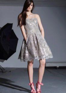 Гипюровое платье на выпускной серое