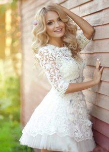 Белое гипюровое платье бэби долл